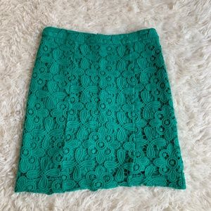Intermix Green Crochet Lace Pencil Mini Skirt